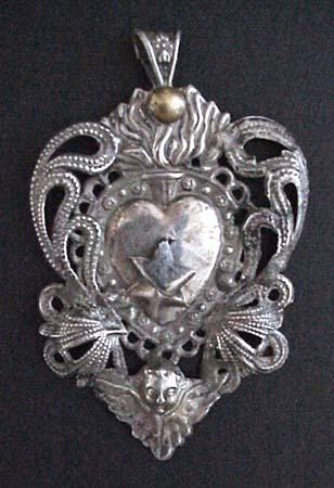 Antique spanish colonial silver ex voto pendant sacred heart aloadofball Images