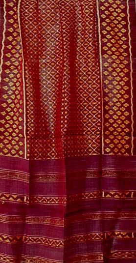 Large Silk Ikat Textiles - Cambodia/ThailandThese are fine large silk ikat textiles woven in Cambodia near the border of Thailand. The pattern is traditional, with solid side margins, decorative borders at both ends, weft ikat throughout the center, and absolutely brilliant, rich colors. The size is substantial and can be used for a strong statement on a wall.$98 each - SALE $88  Click on each one to see a detail photograph and dimensions.